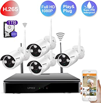 1080P Outdoor Home Security Camera System  1TB HDD 8CH WiFi 4PCS Waterproof HDMI