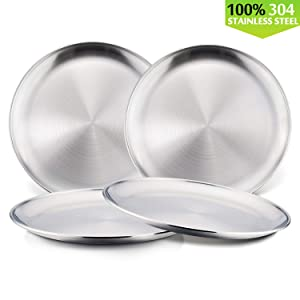 Toddlers 18/8 Stainless Steel Plates, HaWare Metal 304 Feeding Dinner Dishes for Kids Children, 8 Inch Serving Snack Camping Plates, Eco Friendly, BPA-Free and Dishwasher Safe -4 Pack