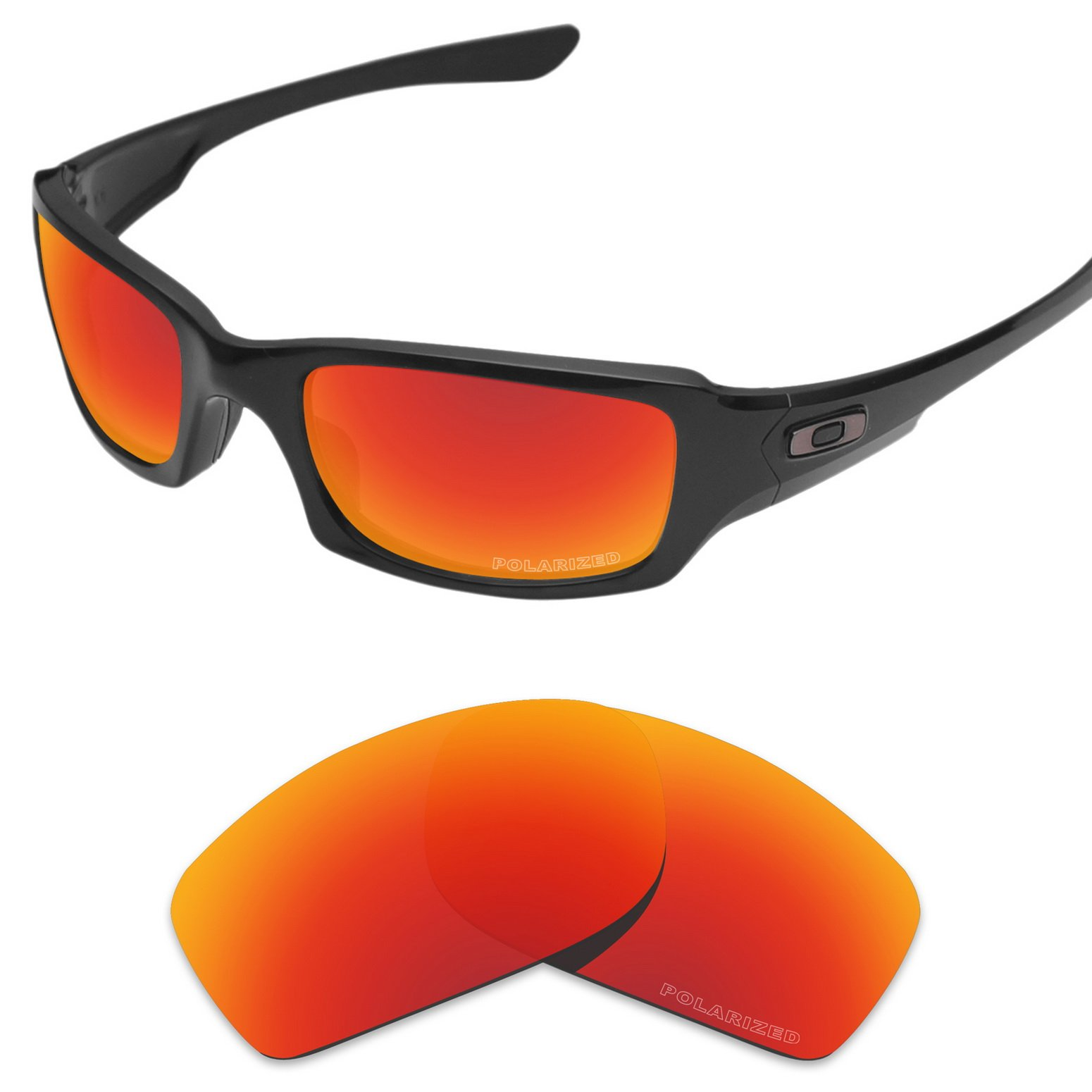 Tintart Performance Replacement Lenses for Oakley Fives Squared Sunglass Polarized Etched-Fire Red by Tintart