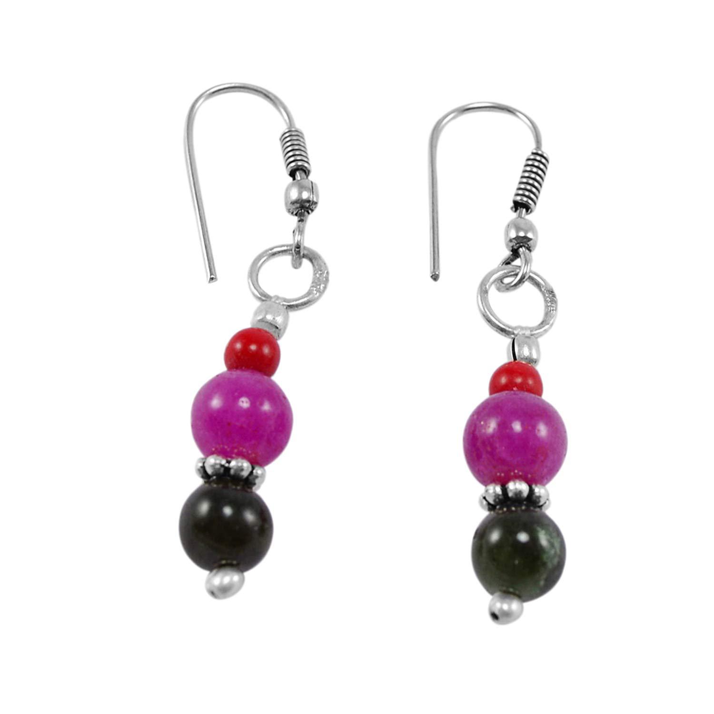 Saamarth Impex Pink Jade /& Rutile Quartz 925 Silver Plated Dangle Earring PG-130942