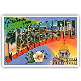 GREETINGS FROM MISSISSIPPI vintage reprint postcard set of 20 identical postcards. Large letter US state name post card pack (ca. 1930's-1940's). Made in USA.