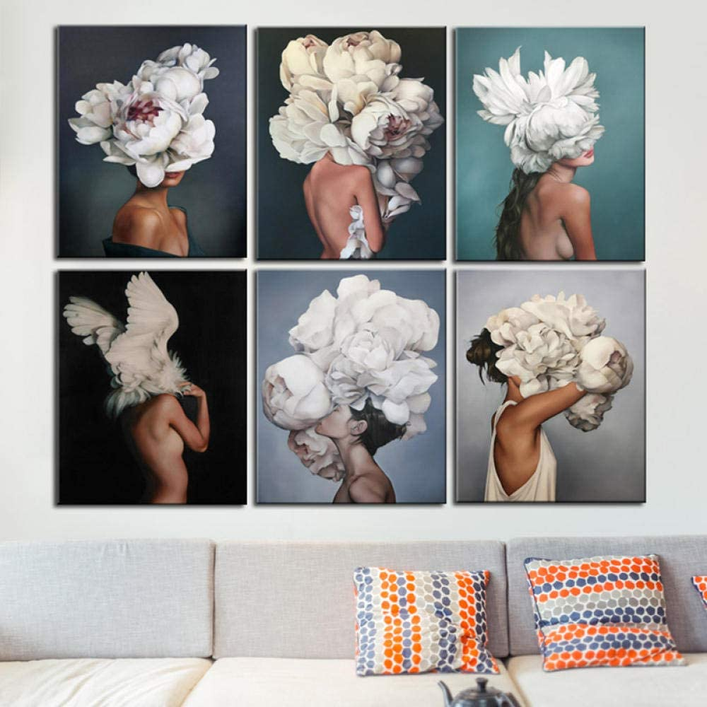 ZQLXD HD Print Flower Girl Figure Canvas Painting Modern Lady Portrait Floral Poster And Prints Home Decoration Wall Pictures Posters-20x30cm No Frame/_MP-002A