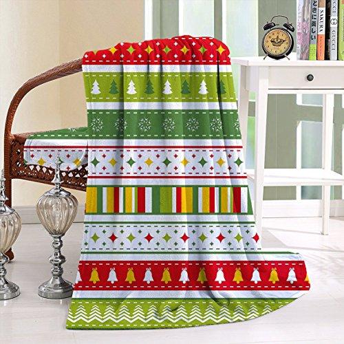 HAIXIA Throw Blanket Christmas Set of Traditional Seasonal Borders Stars Bells Trees Stripes Lime Green Yellow Red (Christmas Sets Bedding Argos)
