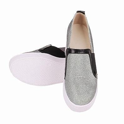 Damen Bequem Geschlossen Keilabsatz invisibel Heel Durchgängiges Plateau Freizeitschuhe (35, Gold) Mee Shoes