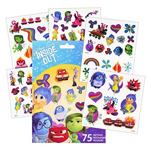 Disney Inside Out Tattoos - 75 Assorted Temporary Tattoos ~ Rainbow Unicorn, Anger, Joy, Bing Bong, , Disgust, Fear, and More! by Savvi]()