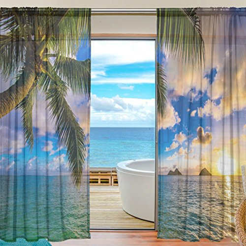 SEULIFE Window Sheer Curtain, Tropical Beach Hawaiian Palm Tree Voile Curtain Drapes for Door Kitchen Living Room Bedroom 55x78 inches 2 Panels