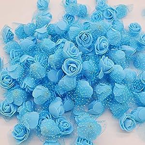 Aosreng 100Pcs/Lot 3Cm Mini PE Foam Roses Multi-Use Artificial Silk Flower Heads Home Garden DIY Wreath Supplies Wedding Decoration Blue 24