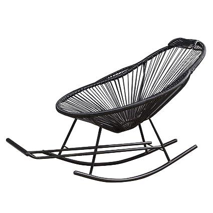 Negro Silla de ratán Mecedora Muebles de jardín con escabel ...