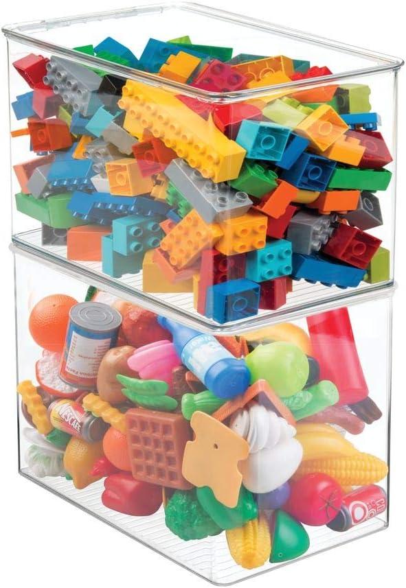 Portagiochi con coperchio in plastica senza BPA matite /& Co mDesign Set da 4 Contenitori portagiochi Box impilabile per giocattoli trasparente peluches
