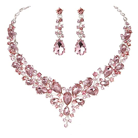 Youfir Bridal Austrian Crystal Necklace Earrings Jewelry Set Gifts fit Wedding Dress (Pink)