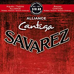 The Savarez 510AR normal tension string set for nylon string guitars feature Alliance trebles paired with Cantiga basses. Alliance trebles offer a similar elasticity and density to that of gut strings, with very long life and smooth feel, whi...