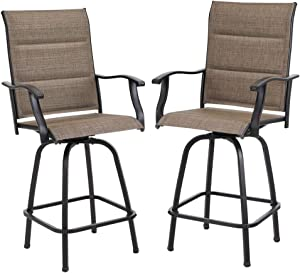 PHI VILLA Swivel Bar Stools Outdoor Kitchen Bar Height Patio Chairs Padded Sling Fabric, All-Weather Patio Furniture, 2 Pack