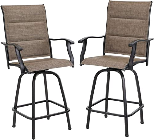 PHI VILLA Swivel Bar Stools Outdoor Kitchen Bar Height Patio Chairs Padded Sling Fabric