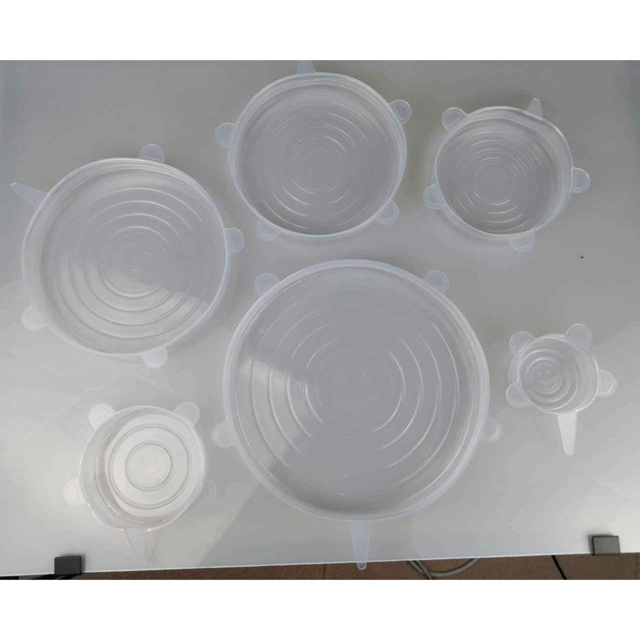fITtprintse 6pcs coperchi del Silicone del commestibile coperchi di Ciotola Elastici coperchi di Coperchio di pentola di pentola di Copertura di Pan Fresco Universale Accessori da Cucina