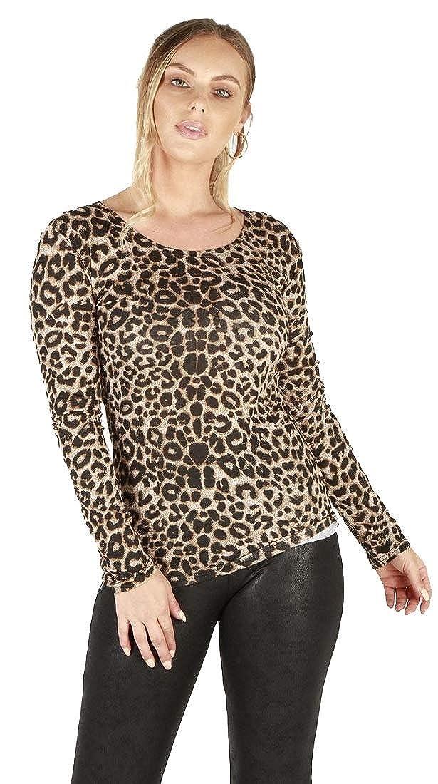 Crazy Girls Womens Ladies Leopard Aztec Zebra Camouflage Skull & Rose Print Long Sleeve Basic Casual T-Shirt Top UK 8-22