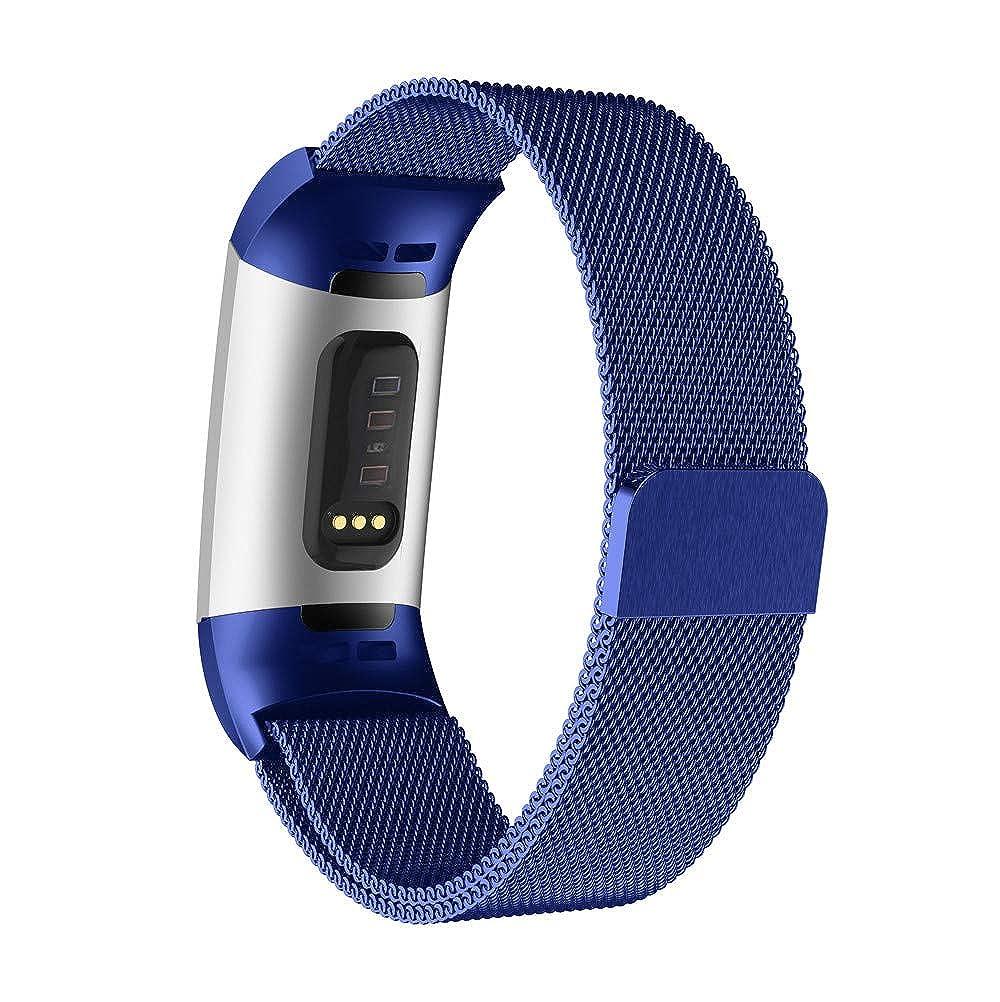 para Fitbit Charge 3 Pulsera de Pulsera de Acero Inoxidable milanesa Magnética de Acero Inoxidable de Malla Pulsera (198mm 210mm): Amazon.es: Relojes