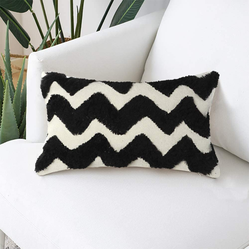 Ailsan Morocco Boho Tufted Decorative Pillow Cover 12X20 White Cotton Woven Throw Pillow Covers Soft Comfy Pillow Cases Modern Black Wave Tufted Cushion Case for Sofa Couch Living Room Bedroom