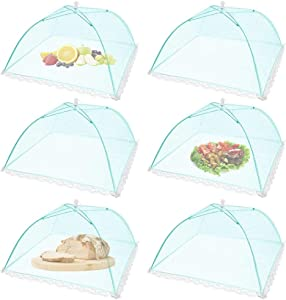 (6Pack) Pop-up Picnic Food Tent Covers, 17x17Inch Foldable Mesh Screen Food Covers for Outdoors, Reusable Food Cover Net Keep out Flies, Mosquitoes