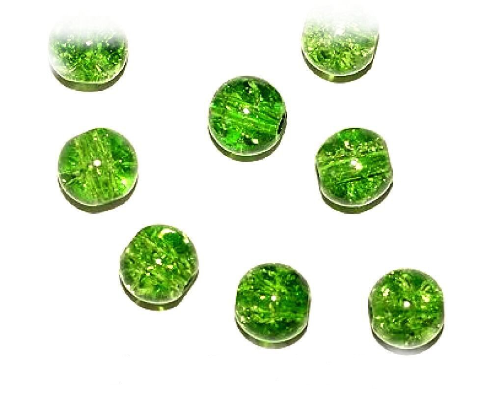 40pcs x 8mm Green Round Crackle Glass Beads For Jewellery Making - (Ref:13A15) Just Say Beads