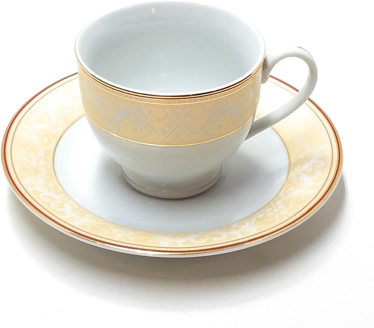 Amazon.com: Elegancy Fine China Tea or Coffee Cups and Saucers Set