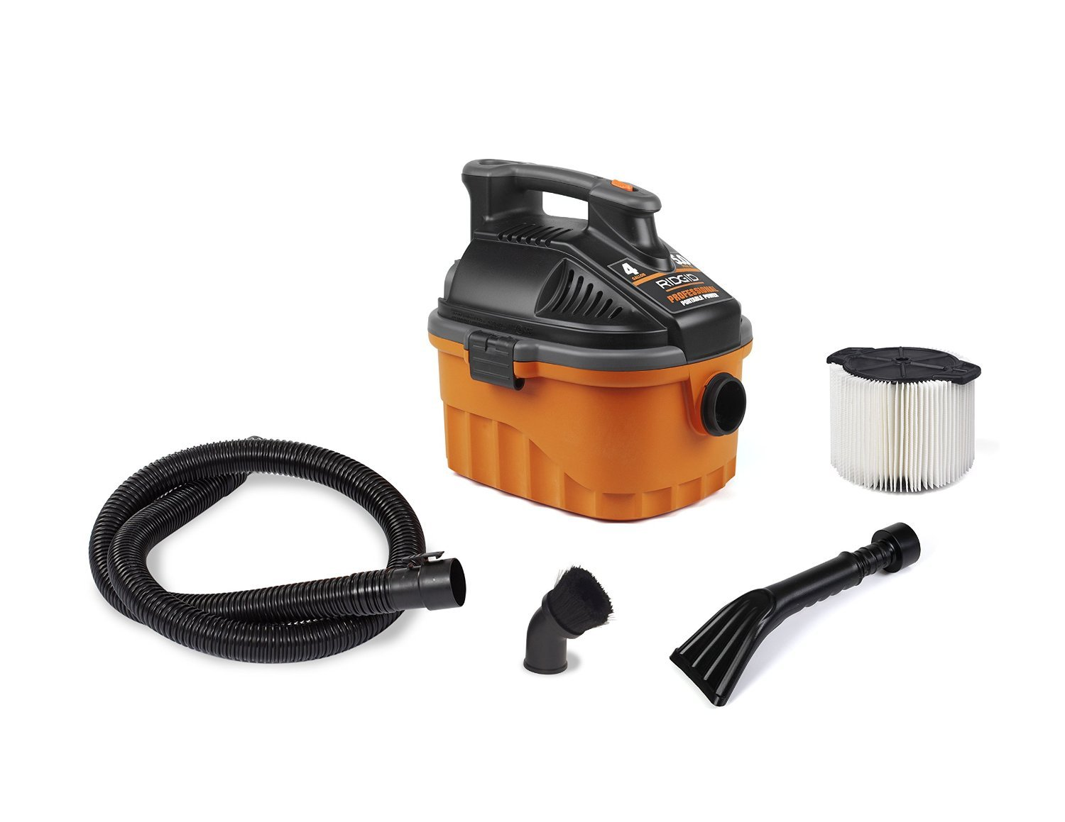 RIDGID Wet Dry Vacuums VAC4000 Powerful and Portable Wet Dry Vacuum Cleaner, Includes 4-Gallon, 5.0 Peak Horsepower Wet Dry Auto Vacuum Cleaner for Car, Dusting Brush, Car Nozzle, and Claw Nozzle by Ridgid