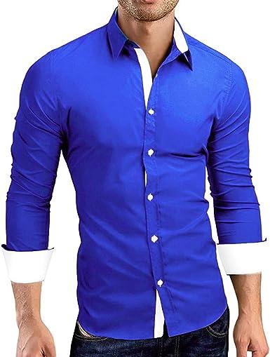 YUTING Hombre Camisa Manga Larga Slim Fit Camiseta de Manga Larga con Panel Delgado para Hombre Camisa de Vestir con Corte Slim y Formal en otoño Casual Top Blusa de Hombre: Amazon.es: