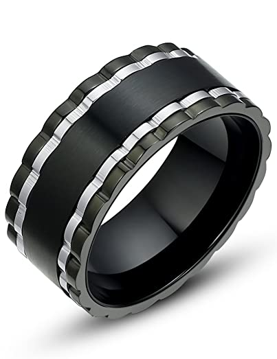 Stainless Steel Spinner 11mm Mens Wedding Band Ring Black And Silver Color G5006DY310