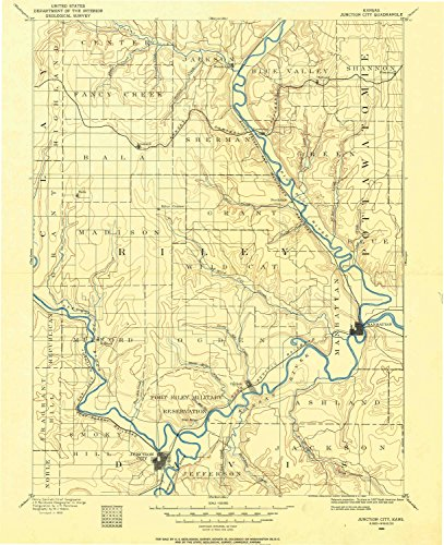 Junction City KS topo map, 1:125000 scale, 30 X 30 Minute, Historical, 1886, updated 1960, 20.06 x 16.32 IN - - Kansas Ks Legends City The