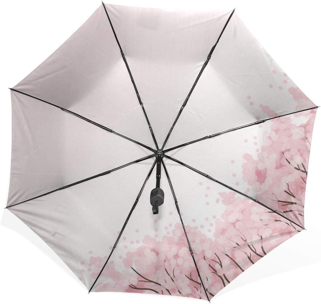 Isaoa Automatique Voyage Parapluie Pliable Compact Parapluie Romantique Arbre Coupe-Vent Ultra l/éger Protection UV Parapluie pour Homme ou Femme