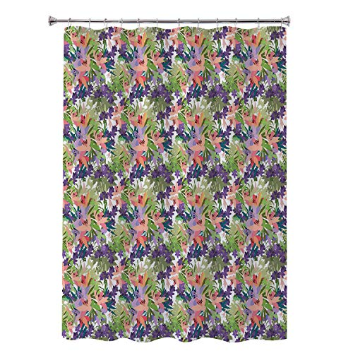Robert L Brock boy Shower Curtain Calla Lily Botanical Garden Ornament Pink Lily and Violet Arabis Flower Arrangement Multicolor Hotel Style Shower Curtain 48 by 84 inch ()