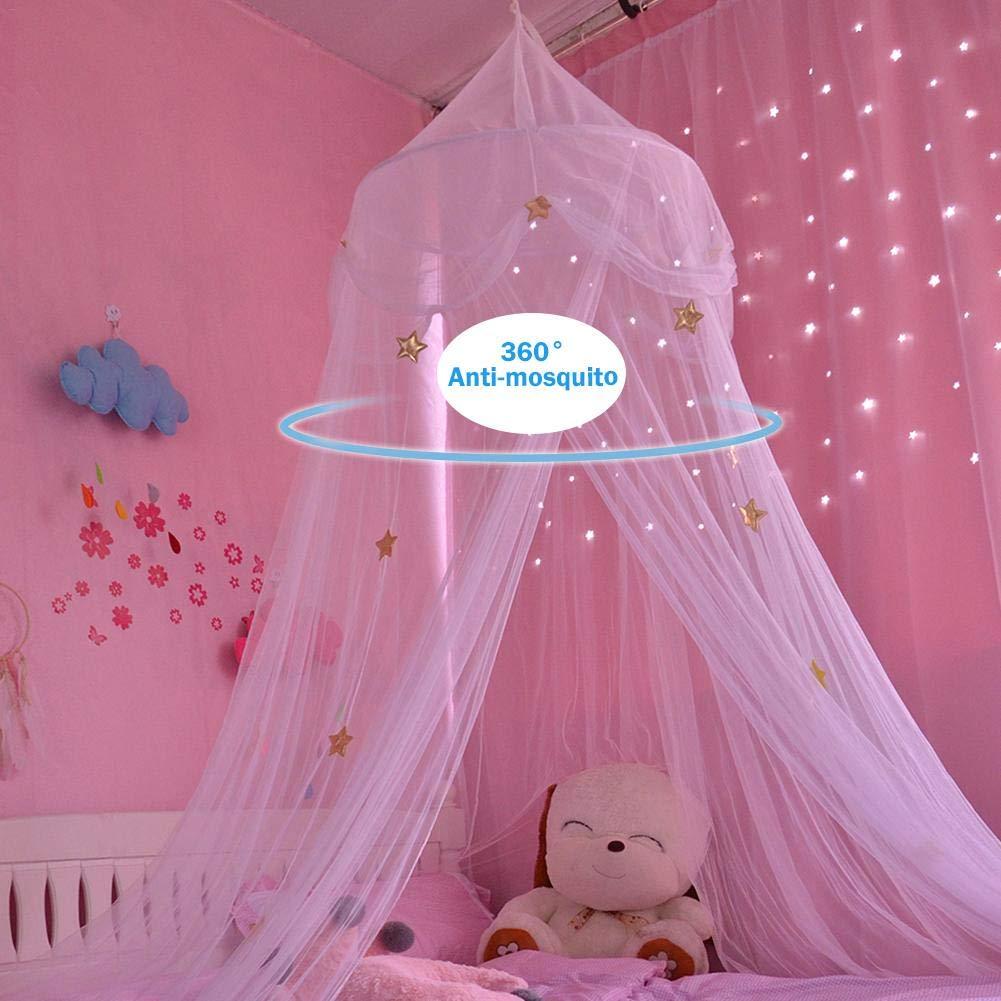Tienda de campa/ña para ni/ñas rosas y blancas mosquitera para habitaci/ón de los ni/ños con dise/ño de estrellas azules