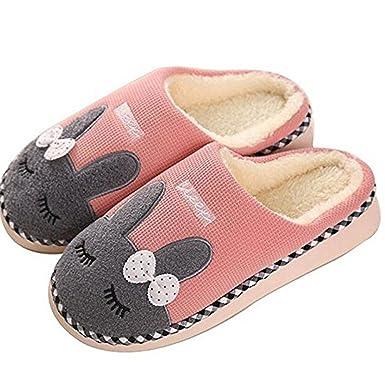 Minetom Herren Damen Plüsch Wärme Weiche Hausschuhe Unisex Winter Baumwolle Pantoffeln Home Rutschfeste Slippers Cartoon Häschen Plüschschuhe, Rot, EU 38-39