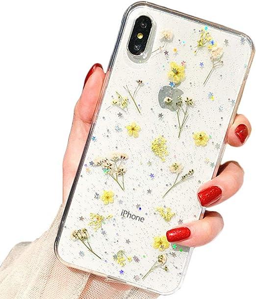 Estar Coque pour iPhone 8 Plus/iPhone 7 Plus Fleur Souple en Caoutchouc TPU Souple Transparent Véritable Fleurs séchées Coque Paillettes Floral Cover ...