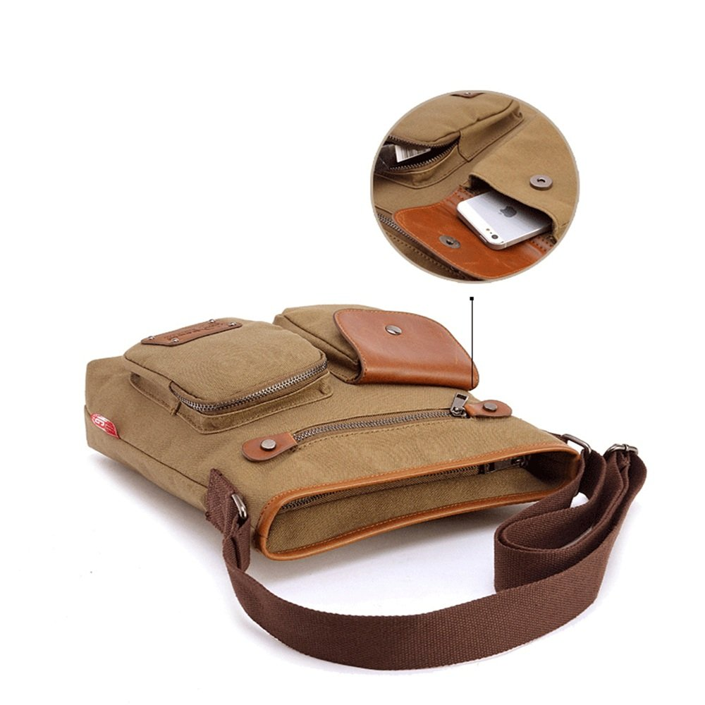 Color: Khaki Sunmiao Mens Canvas Crossbody Bag Zipproof Waterproof Shoulder Bag