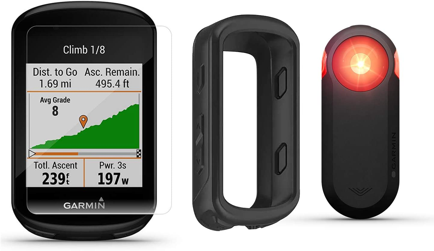Garmin Edge 830 Cycle GPS with Garmin Varia RTL510 Rearview Radar, PlayBetter Silicone Case HD Screen Protectors Bundle Touchscreen, VO2, Incident Detection Bike Computer Black Case
