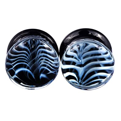"""D&M Jewelry Par de Dilatador de Medusa de Vidrio 0g-5/8"""" Joyería"""