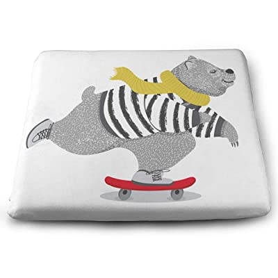 Sanghing Customized Cute Bear Skateboard Vector Design Animal 1.18 X 15 X 13.7 in Cushion, Suitable for Home Office Dining Chair Cushion, Indoor and Outdoor Cushion.: Home & Kitchen