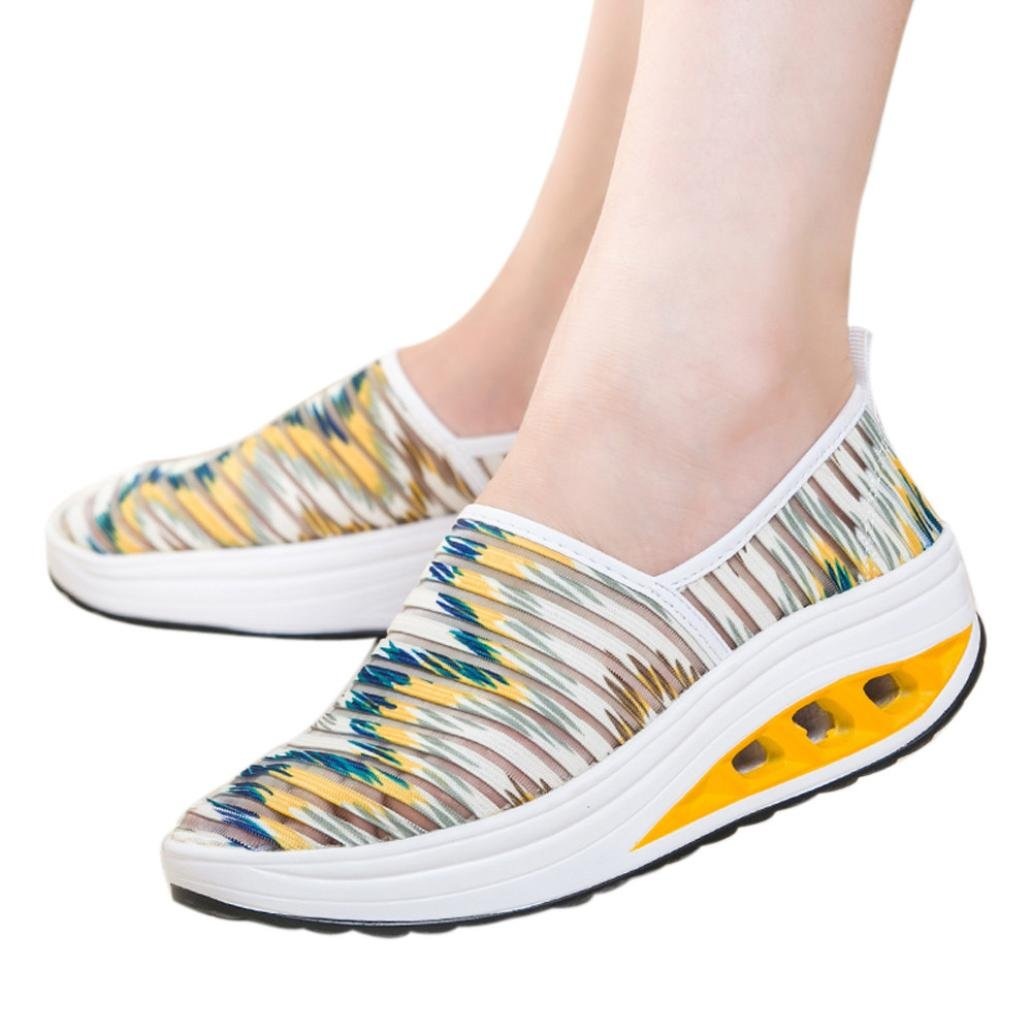 vermers Women Shoes Clearance - Casual Fitness Sport Shoes - Ladies Mesh Shake Shoes Platform Sneaker(US:7.5, Yellow)