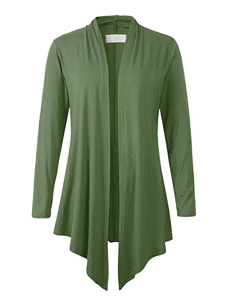 d16523cc3c2 Eanklosco Women Open Front Cardigan Plus Size Drape Long Sleeve Coat (Army  Green