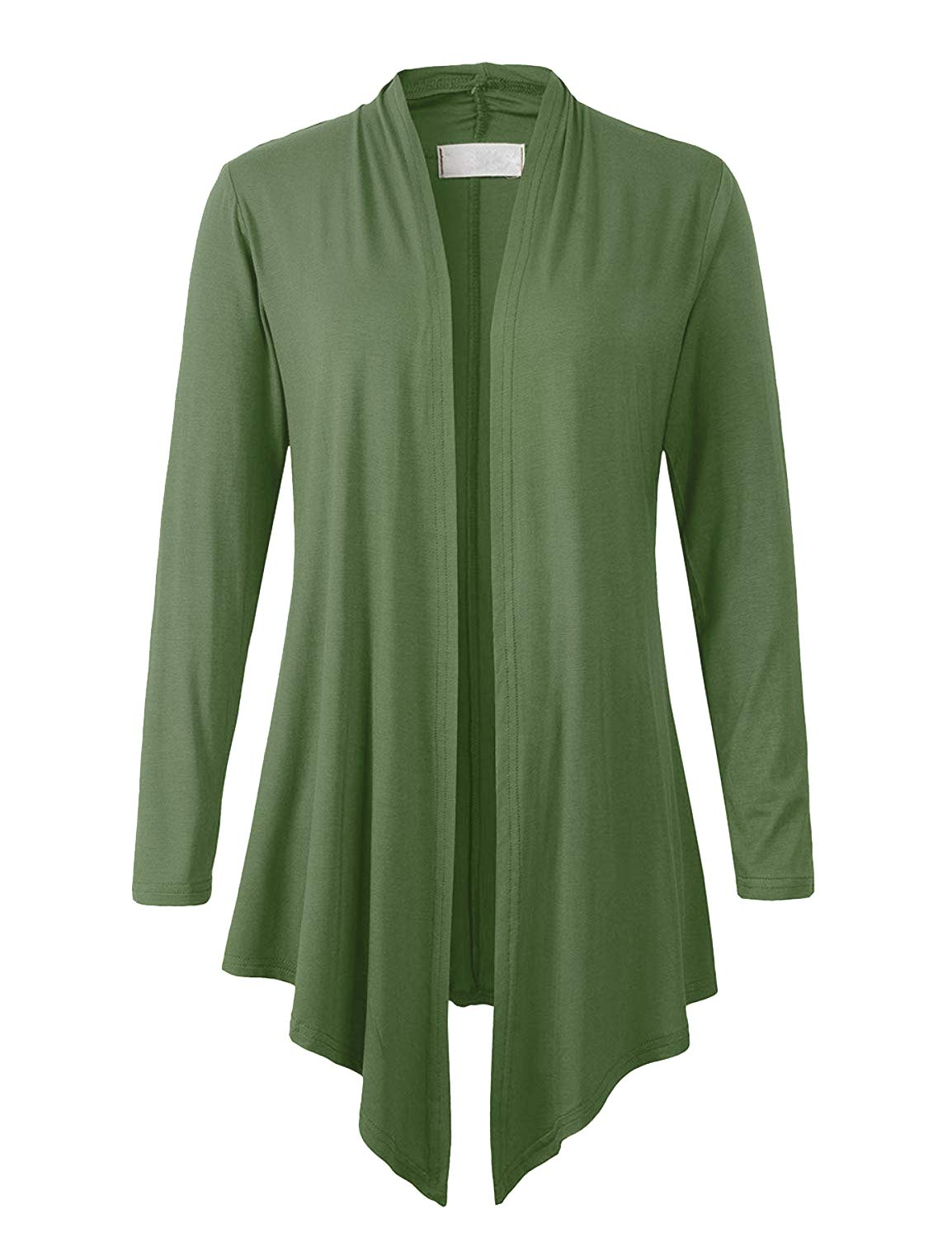 Eanklosco Women's Long Sleeve Drape Open-Front Cardigan Light Weight Irregular Hem Casual Tops (S, Army Green)
