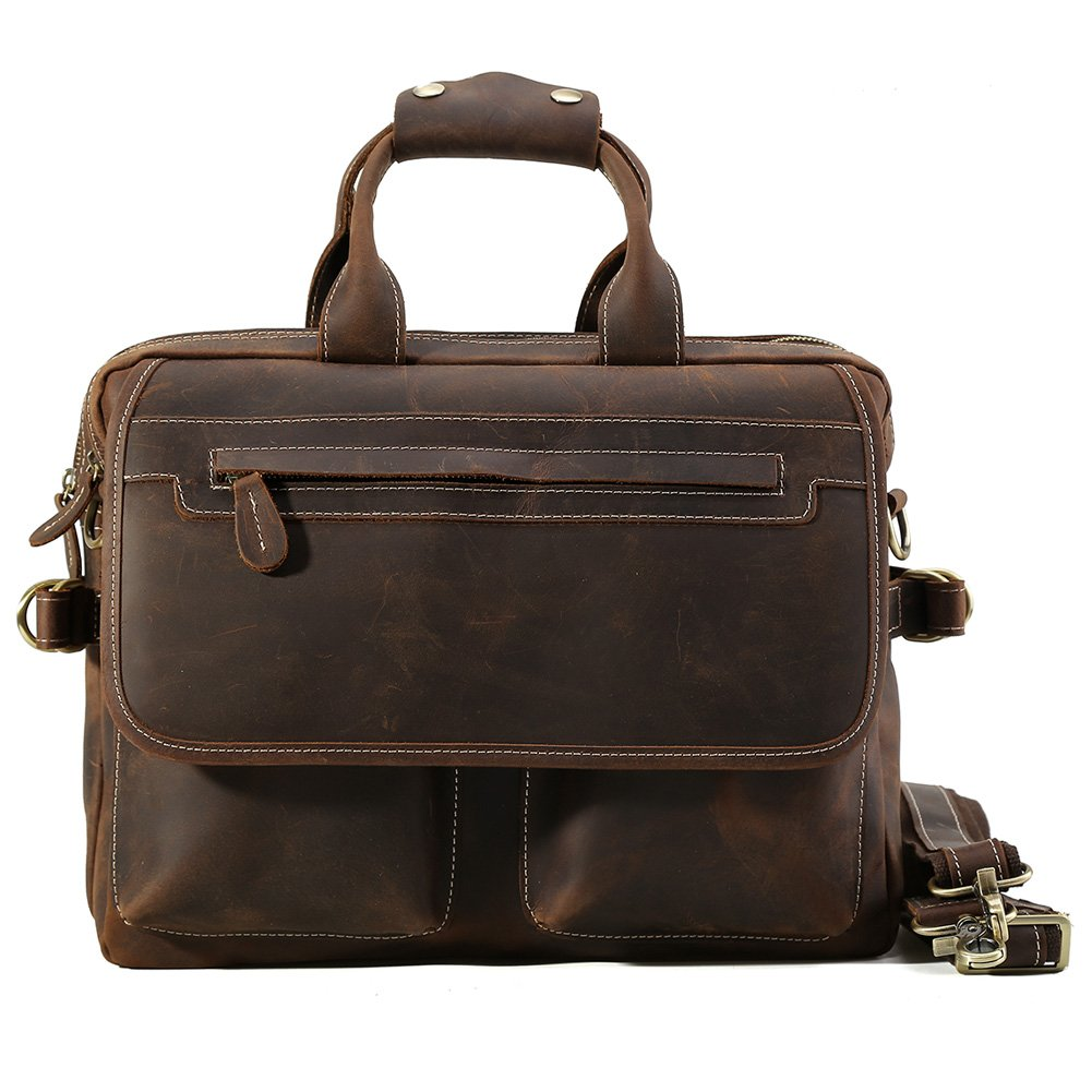 Tiding Men's Genuine Leather 14 Inch Laptop Business Briefcase Messenger Tote Bag Satchel Bag
