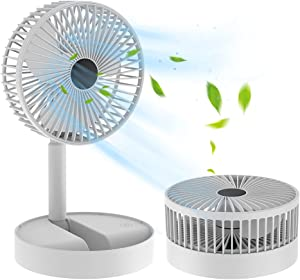 Folding Fan Quiet 3- Speed Wind Highly Stretchable Simulated Natural Wind 180 ° Adjustment Battery Powered or USB Powered Home Desk Bedroom Portable Travel Mini Decorative Fan (White) (White)