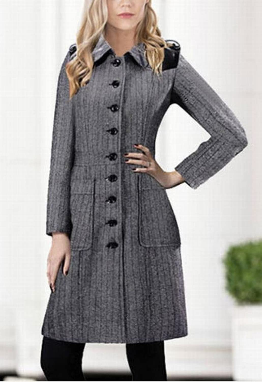 Alion Women's Wool Blend Plaid Slim Long Trench Woolen Overcoat