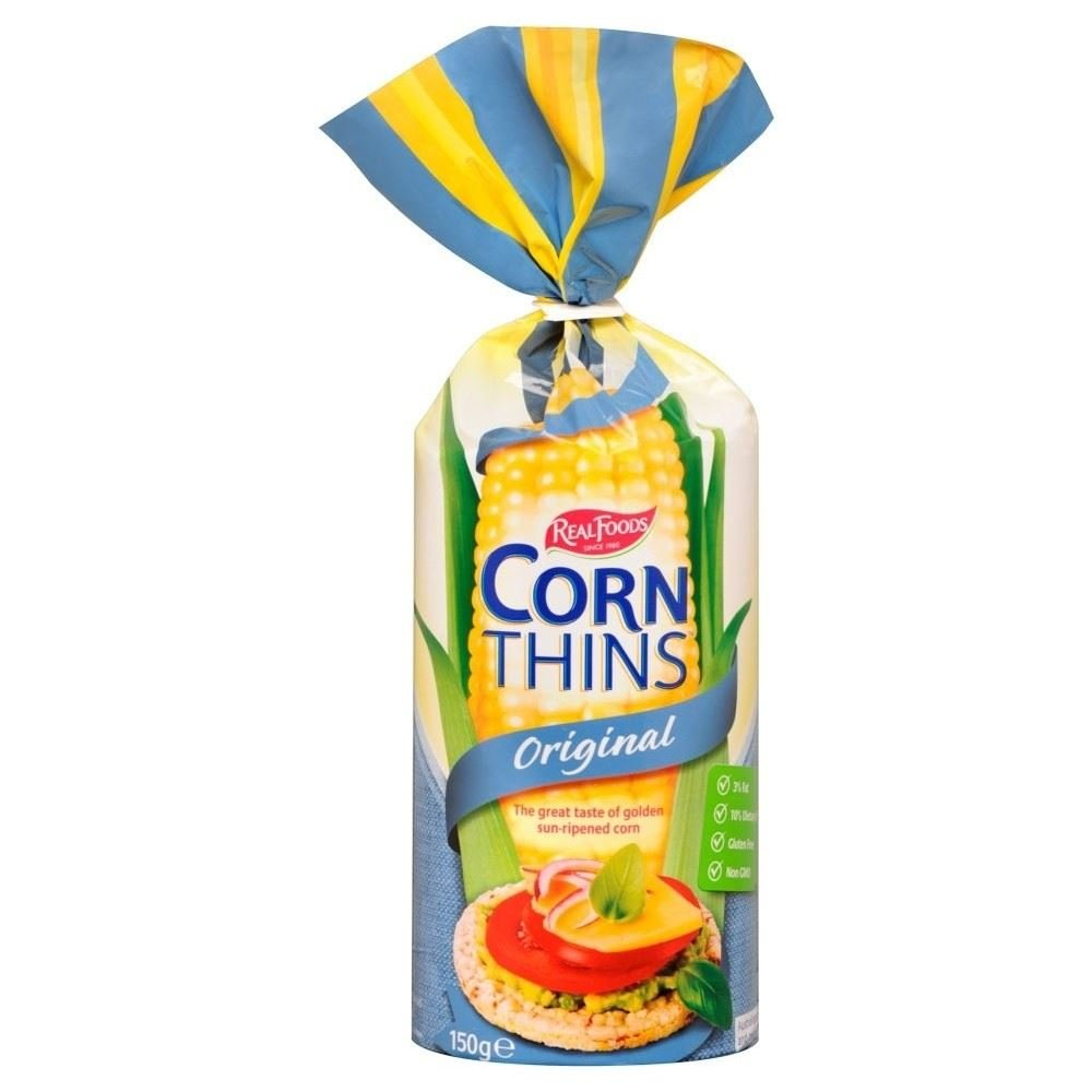 Real Foods Corn Thins - Original (150g) - Pack of 2