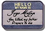 """[single Count] Custom And Unique (2.5"""" X 3"""") Rectangle """"funny Comedy� My Name Is Inigo Montoya Princess Bride Embroidered Applique Patch {purple, Black, & Yellow Colors} [licensed] 