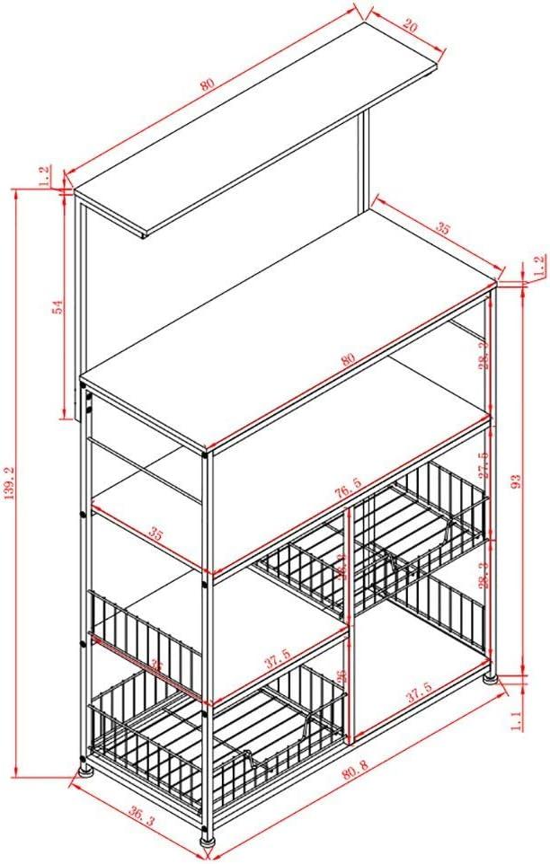 SHELF Bastidor de almacenamiento Adecuado para la cocina Oficina en casa Sala de estar, estantería, cocina de pie, gabinete de múltiples capas, gabinetes, armarios, horno de microondas, horno, estant