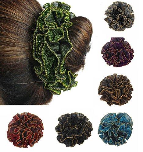 YABINA 10 Colors High Elastic Glitter Cloth Hair Ties Bands Rope Ponytail Holders Headband Scrunchie Hair Accessories 5PC (MUL)