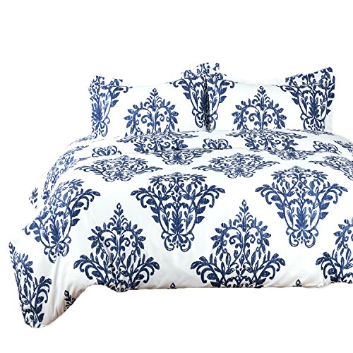 Bedsure Printed Damask Pattern Duvet Cover Set with Zipper Closure Victoria Blue Modern Full/Queen (90