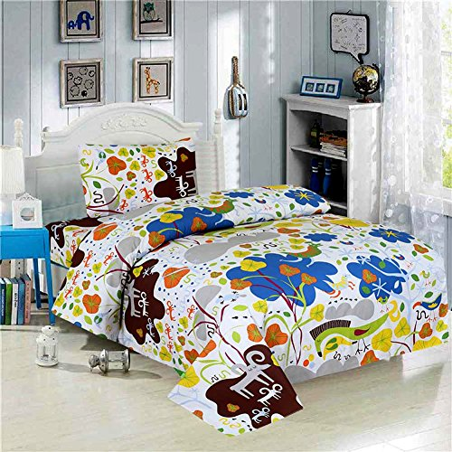 Thread Nebula Woodland Kids Bedding Twin Size 3 Piece Boys Girls Bed Sheet Set with Colorful Floral Print, Super Soft White