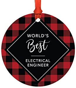 Andaz Press Round MDF Natural Wood Christmas Tree Ornament Gift, Modern Buffalo Red Black Plaid, World's Best Electrical Engineer, 1-Pack, Includes Ribbon and Gift Bag